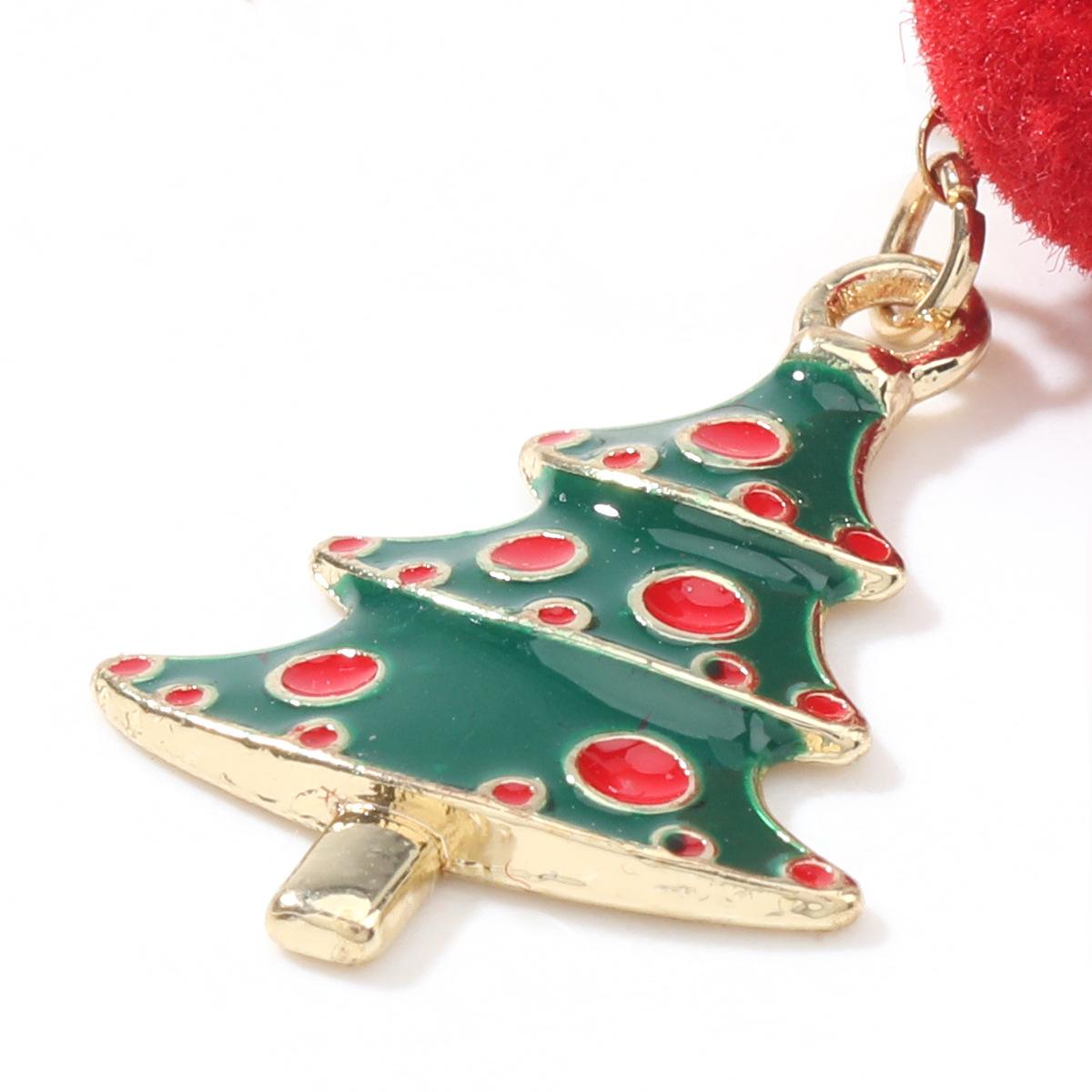 Christmas series hair ball alloy oil drop Christmas tree earrings  NHJE262495