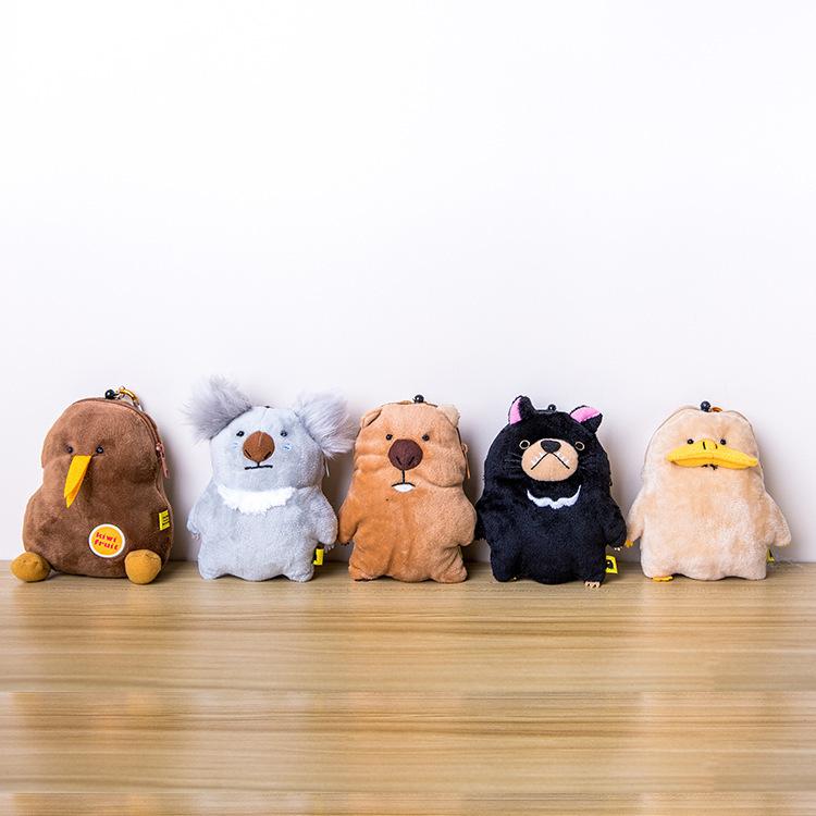 日系袋熊家族鸭嘴兽袋獾袋熊树熊毛绒公仔伸缩卡片包零钱包收纳