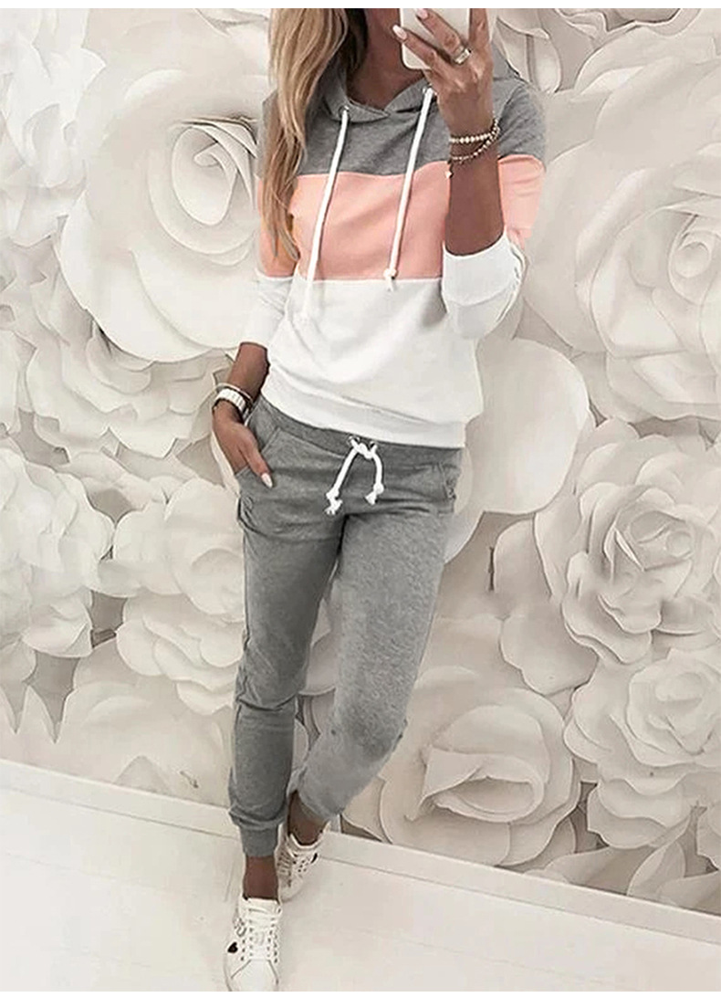 women long-sleeved autumn new hit color hooded street style pullover sweater suit  NSSI2474