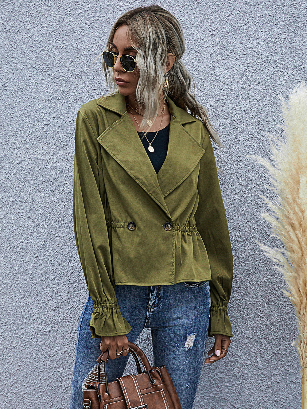 high waist ladies temperament casual army green long-sleeved jacket NSDF2824