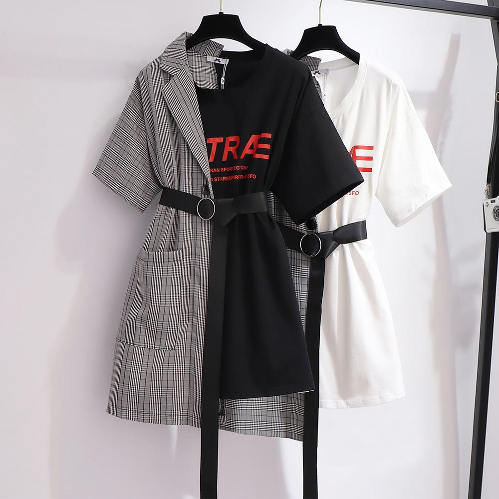 胖妹妹加肥加大t恤裙韩版百搭个性假两件连衣裙夏季新款大码女装