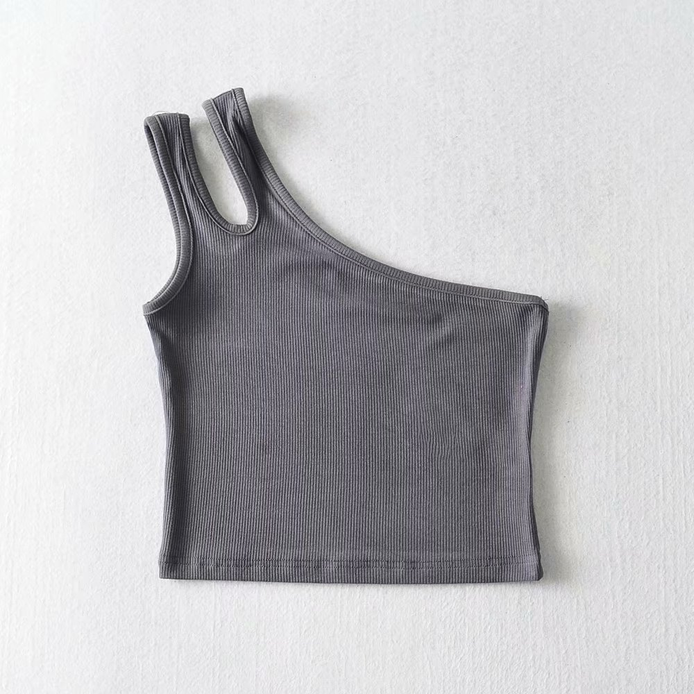 Fashion Black Slanted Shoulder T-shirt Vest