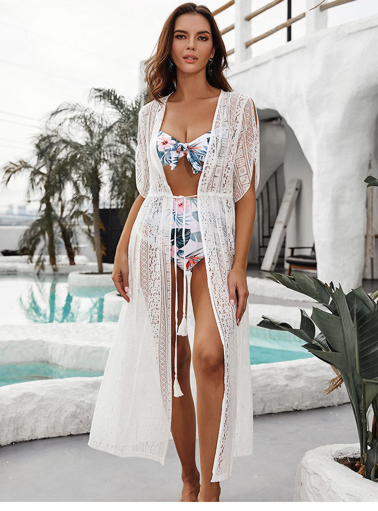 new lace white hollow cardigan beach blouse swimsuit take sunscreen clothing overalls wholesale nihaojewelry NHXW219931