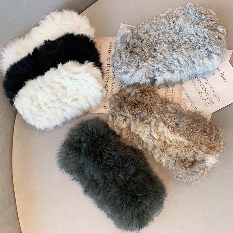 Korean knitted plush elastic widesided headband NHSM282001