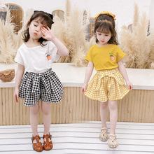 女童套裝夏裝2020新款新款韓版兒童T恤格子短褲兩件套潮可愛