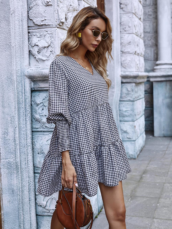 retro Hepburn style thin autumn and winter dress autumn a-line skirt long sleeves wholesale NHDF45