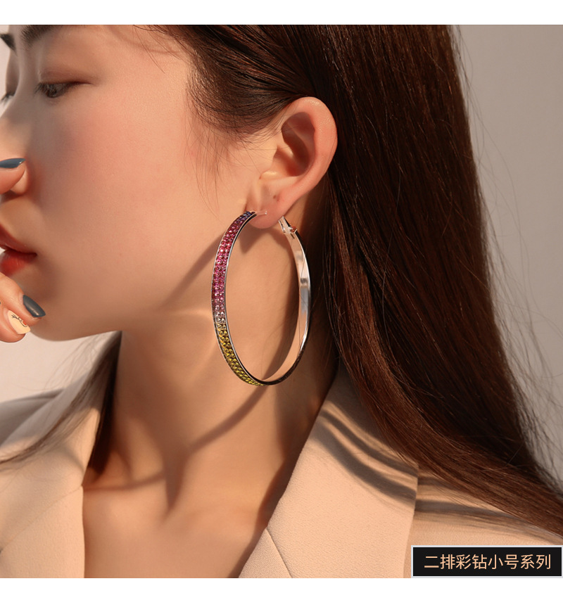 New fashion full diamond gradient earrings color crystal earrings wholesale NHMO207824