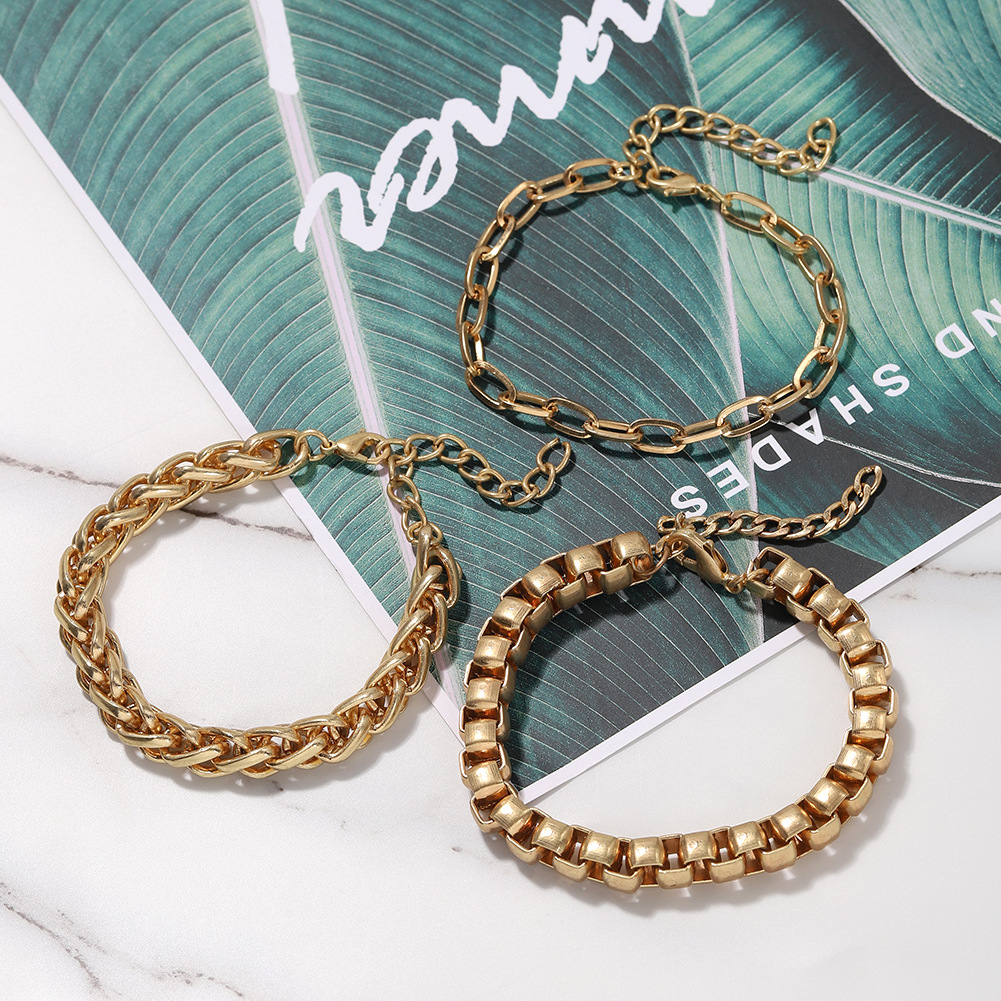 new hip-hop style alloy keel chain niche natural bracelet  NHJQ260589