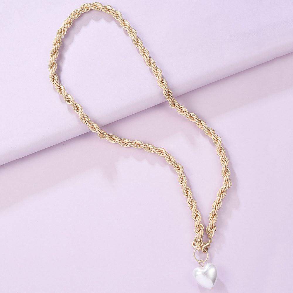 thick chain Baroque pearl necklace bracelet set frosty jewelry wholesale nihaojewelry NHMD231906