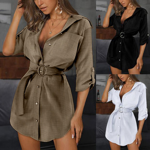 2020 ebay AliExpress European and American summer new lace cardigan solid color sleeved shirt dress