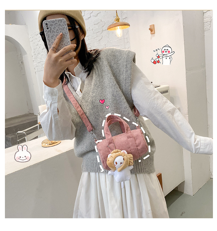 Cute corduroy doll decoration cylinder shoulder bag NHJZ279820