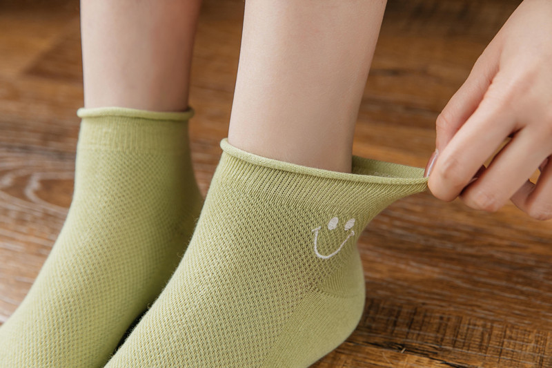 summer breathable socks embroidery solid color cotton socks section lowtop boat socks wholesale nihaojewelry NHER230502