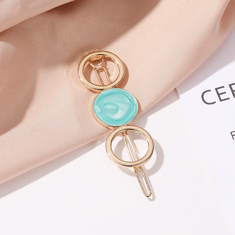 Korean new hair accessories color candy round hollow hair clip sweet girl circle hollow cheap edge clip NHDP202822