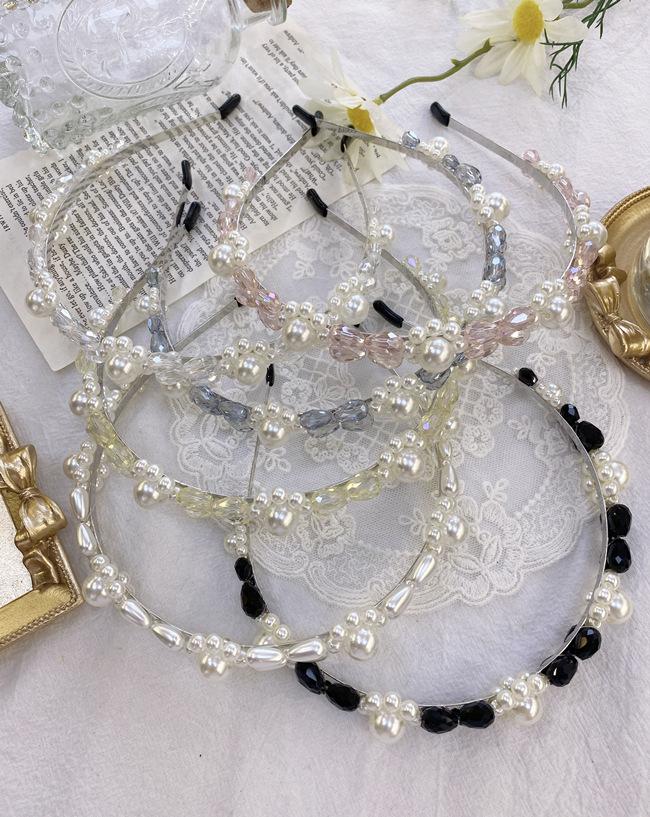 Korean fashion pearl hair band French crystal flower Baroque bride thin headband   wholesale nihaojewelry NHSM222228