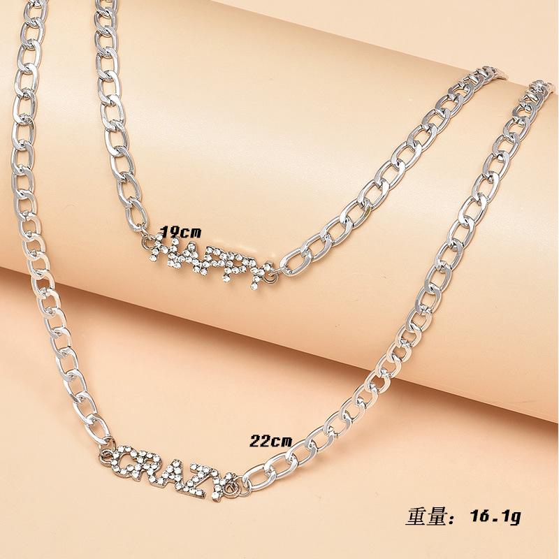 new metal texture letter women's necklace  NHAJ265873