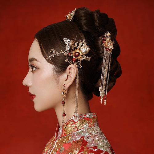 Chinese bridal headdress Phoenix Crown Hanfu Accessories Fringed wedding show Wo clothing hair accessories women