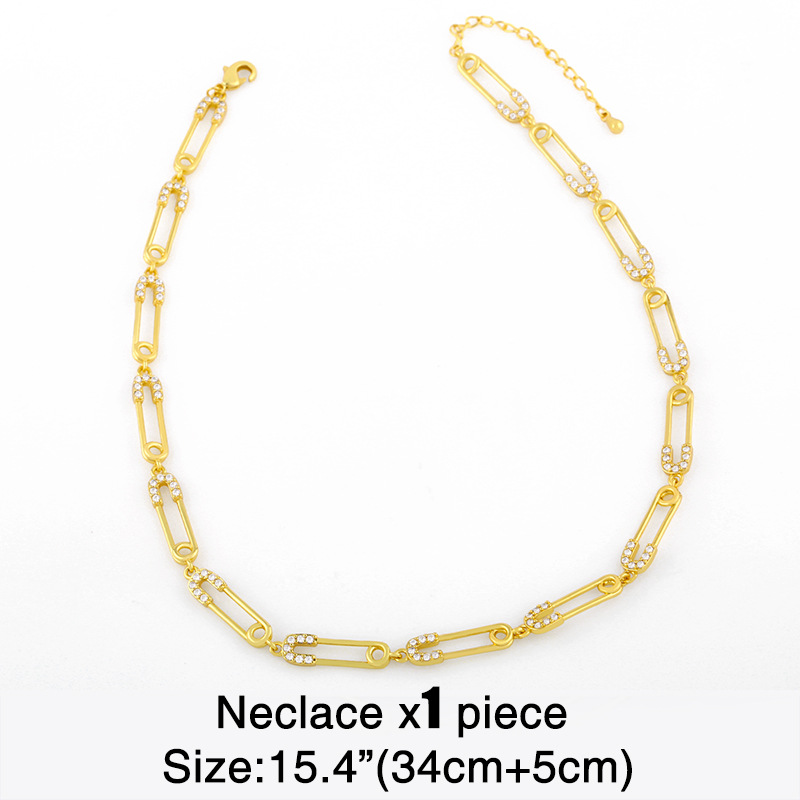 Fashion hip-hop punk new retro gold pin chain diamond necklace for women NHAS261752