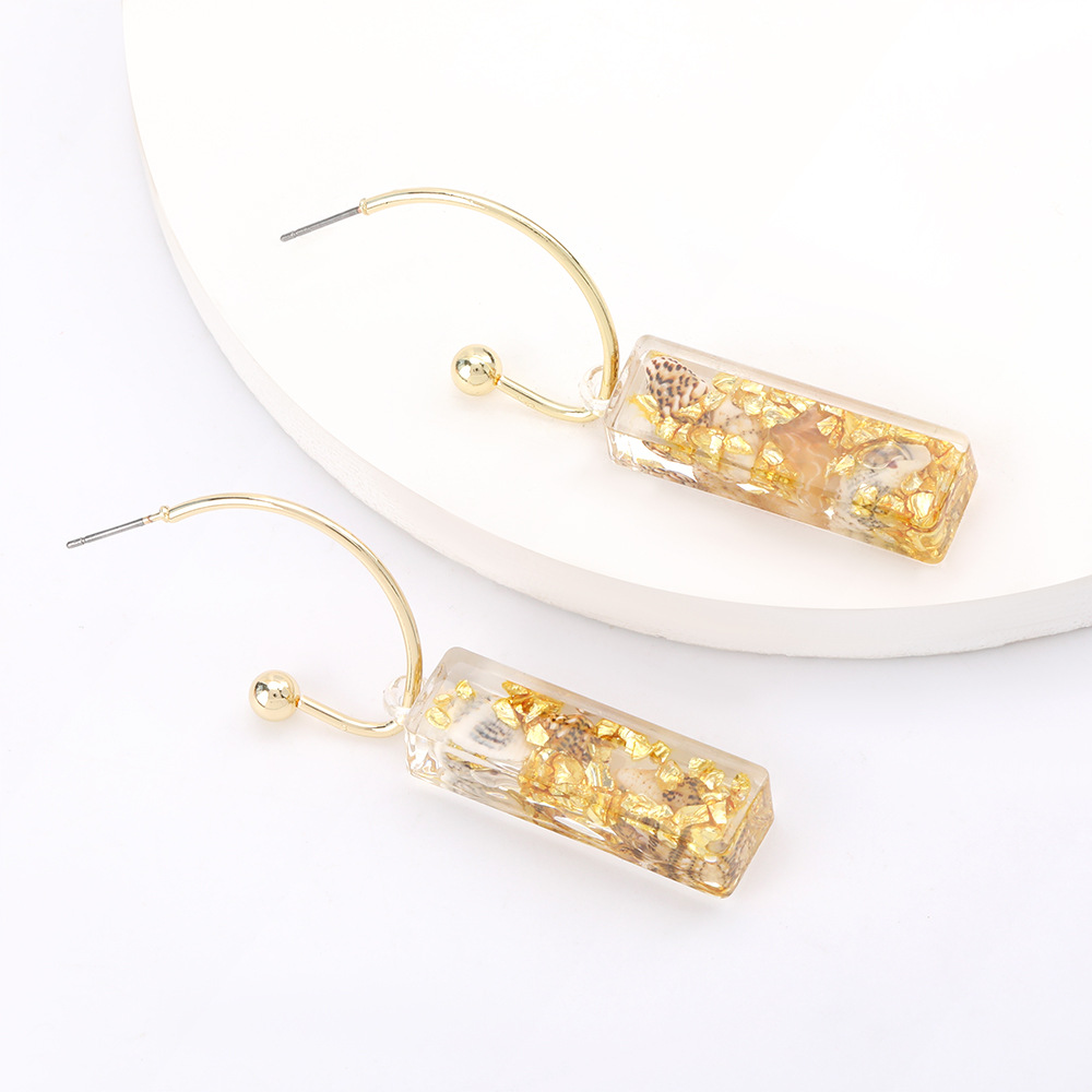 stunning design sense cuboid acetate plate earrings trend earrings wholesale nihaojewelry  NHJE218933