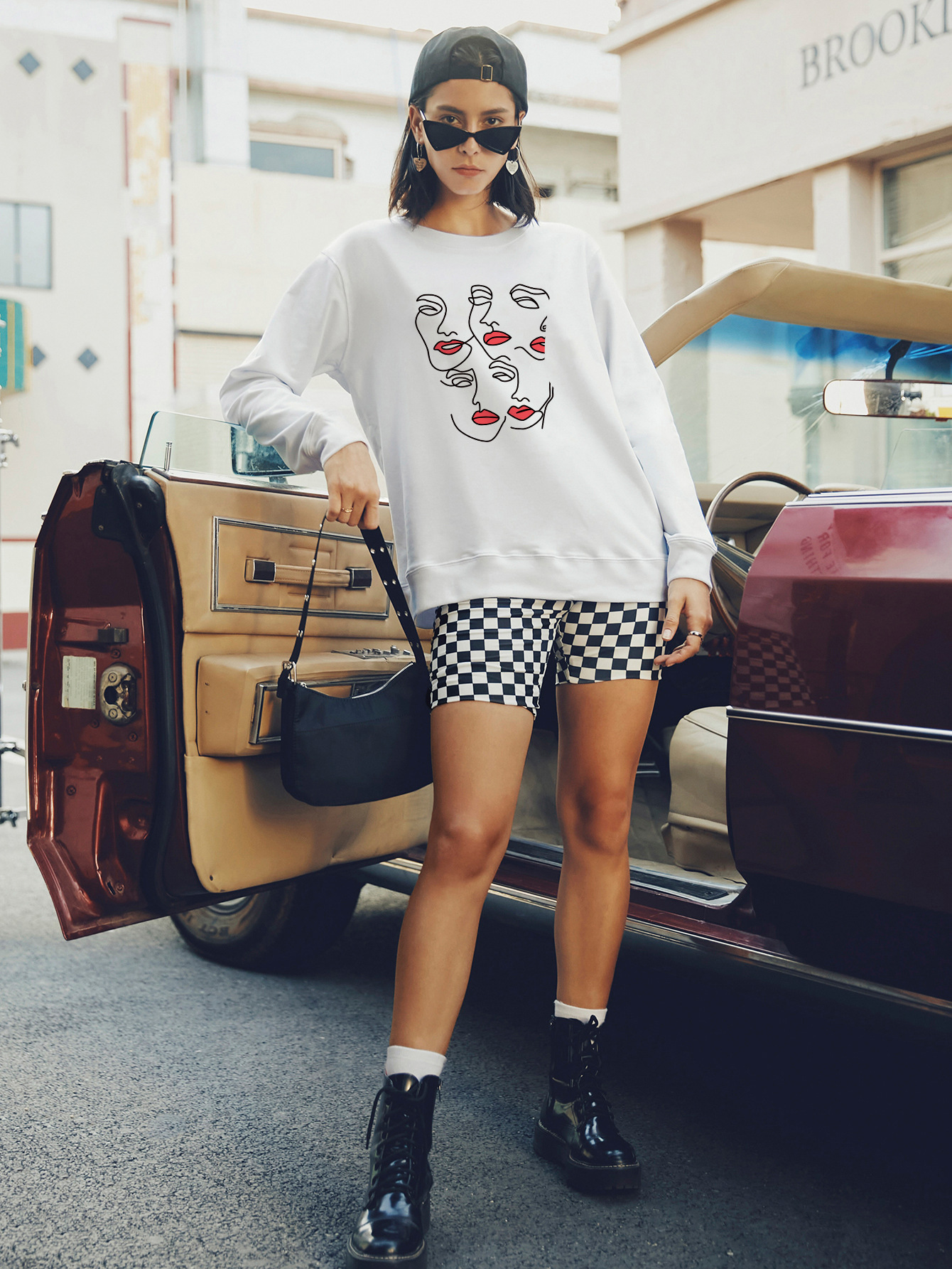 round neck long sleeve street casual hoodies for women NSSN1796