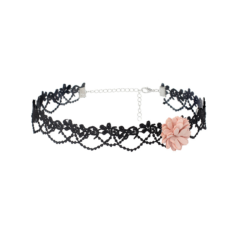 new simple lace neckband necklace super fairy flower necklace choker short clavicle chain wholesale nihaojewelry NHRN238330