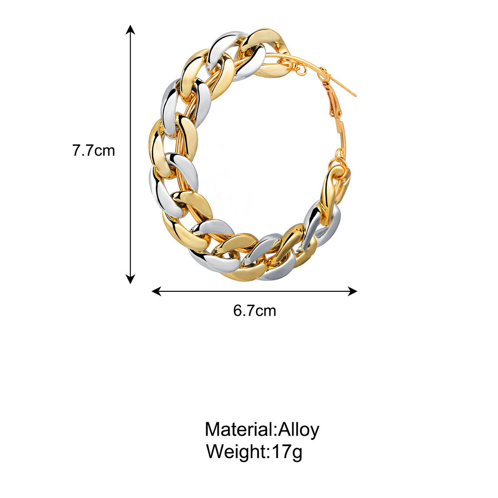 Fashion B06-01-58 60mm Mixed Color Thick Chain Alloy Earrings