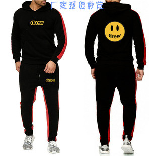Foreign trade cross-border drew Justin Bieber smiley loose casual trendy sweater suit men's sweater sweater