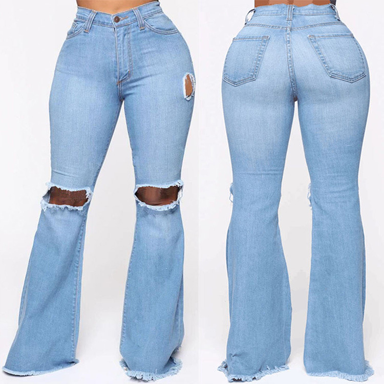 Autumn European and American Women's Jeans With Ripped Holes And Slim Flared Pants