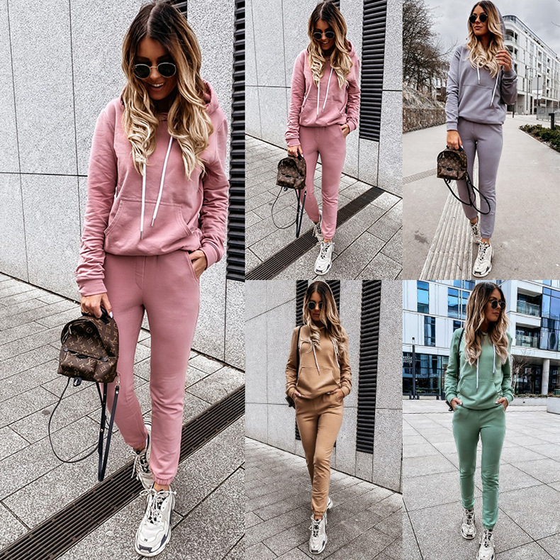 hot style women's solid color casual hooded sweatshirt sportswear two-piece suit NSYD6380