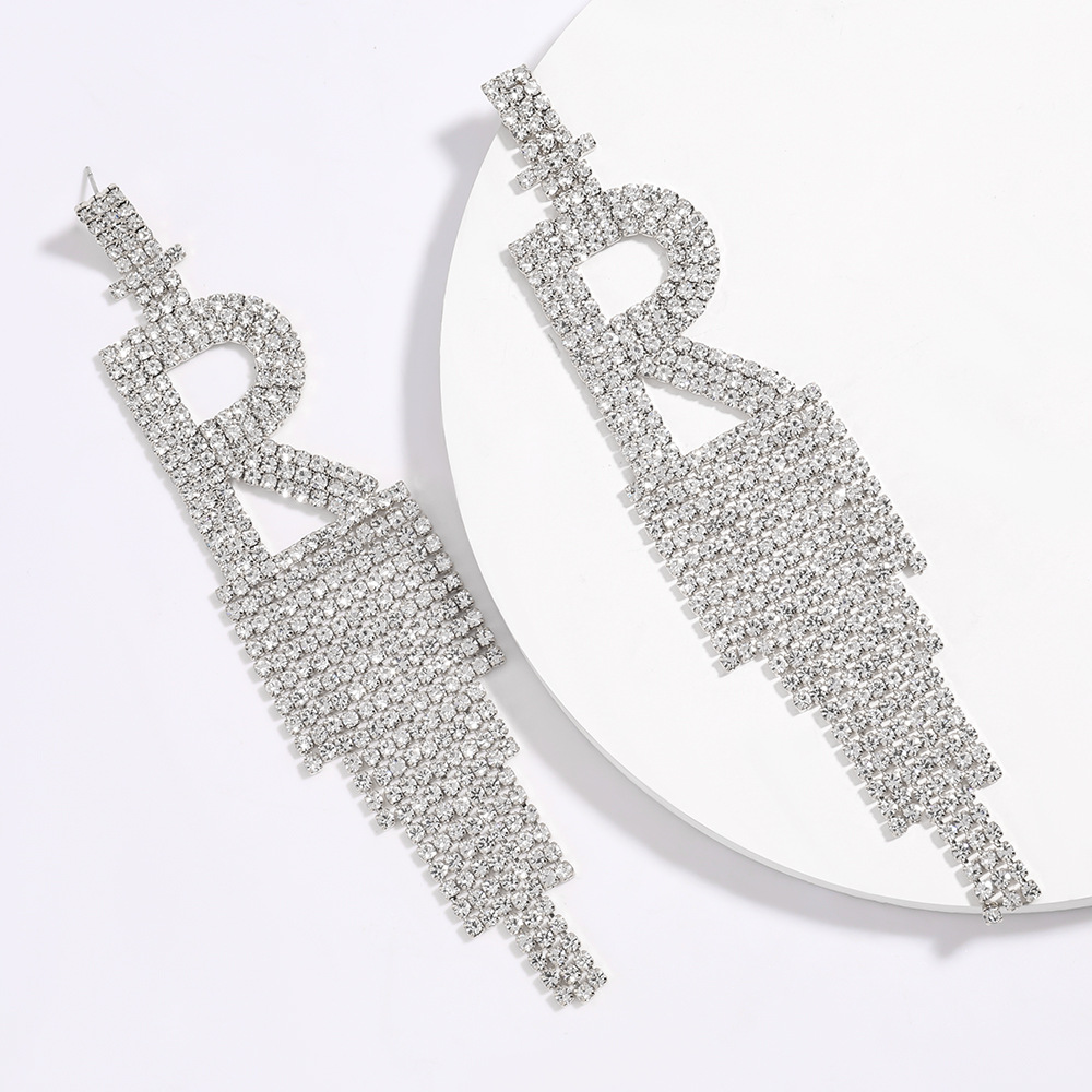 hot sale letter R claw chain alloy rhinestone diamond long tassel earrings wholesale nihaojewelry NHJE223267