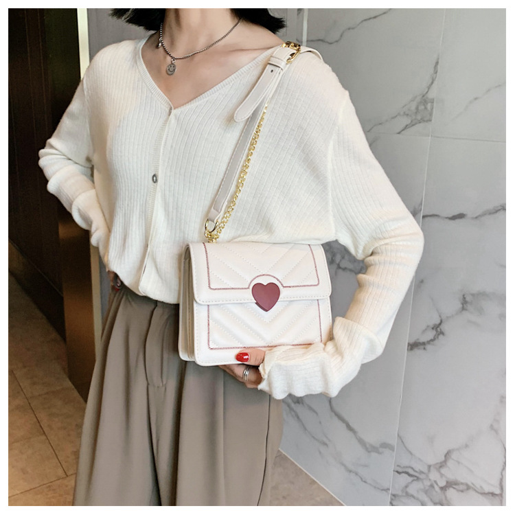 New Trendy   Fashion One Shoulder Chain Bag Texture Allmatch Messenger Small Square Bag NHLH253669