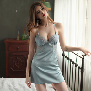 Sexy pajamas women Sexy Lingerie sleep wear bud cut-out Satin housewear fun suspender nightdress with bra season