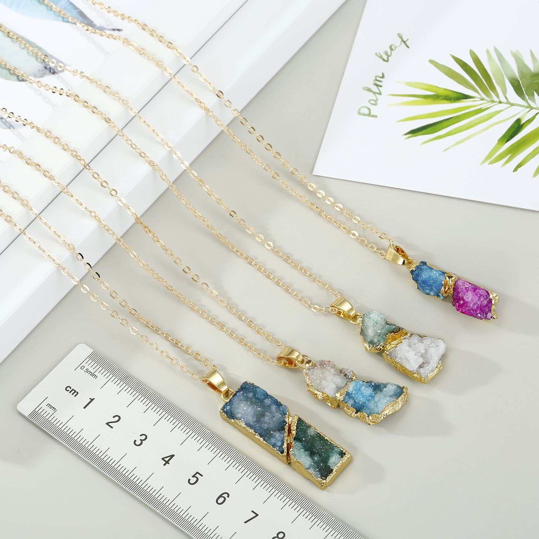Jewelry Crystal New Simple Korean Necklace Natural Stone Irregular Stitching Pendant Necklace Bud NHGO201052