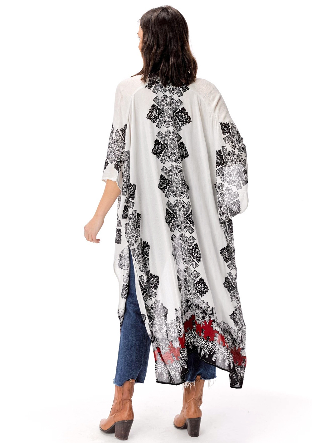 summer women's fashion printed cardigan loose casual beach vacation cover gown NSDF1483