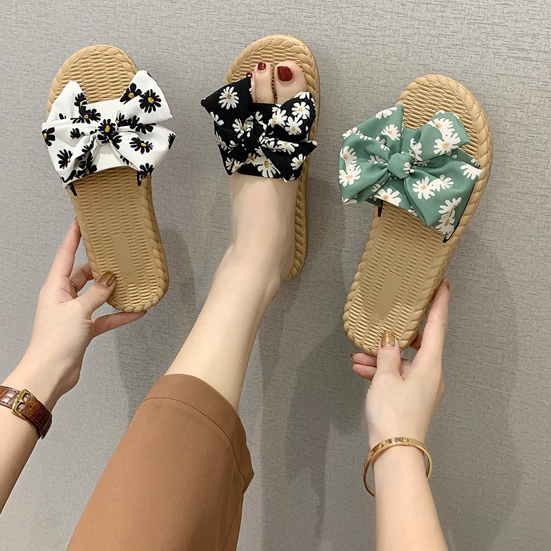 sweet floral slippers female new student...