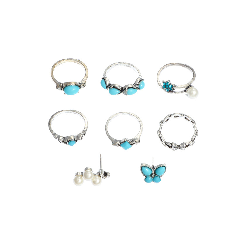 Vintage Fashion Geometric Blue Turquoise Ring Butterfly Pearl Ring 8 Piece Set NHNZ205177