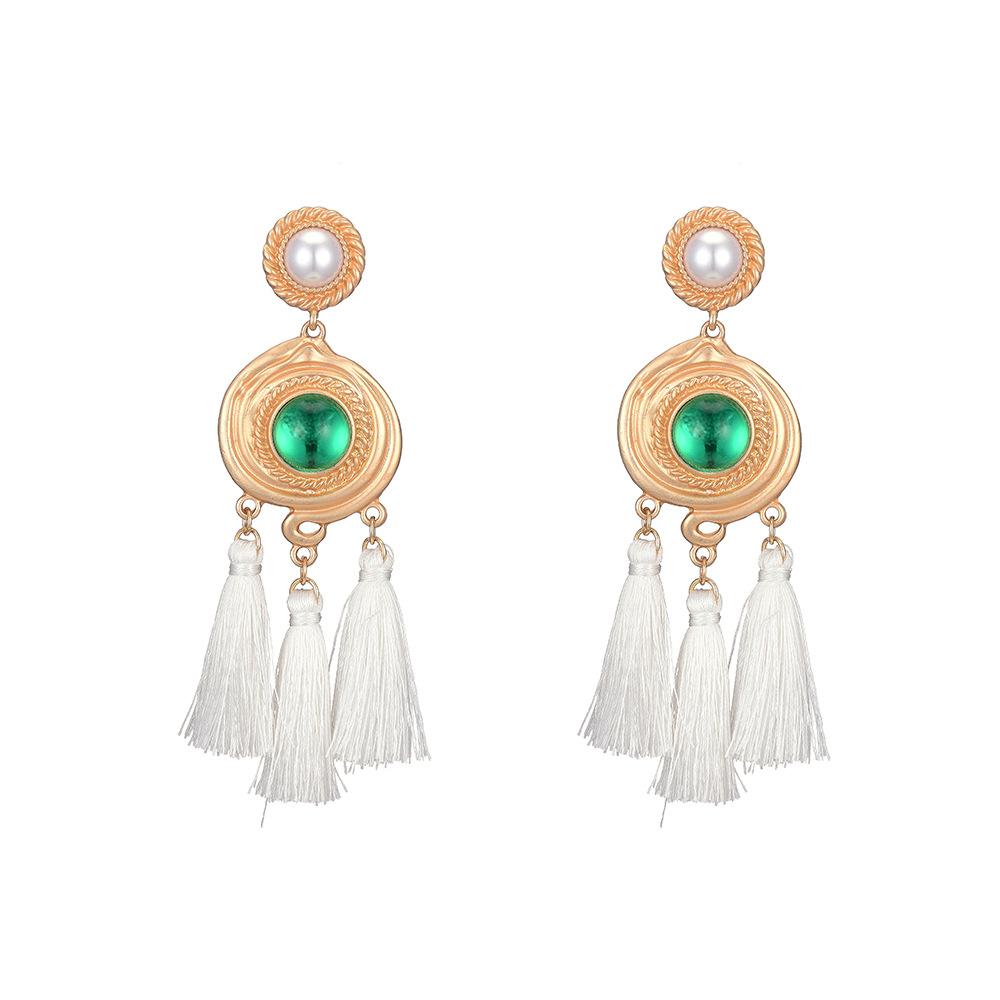 New 925 Silver Needle Palace style Baroque Pearl Earrings Bohemian Long Tassel Earrings wholesale nihaojewelry NHOA236596