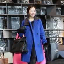 2020新款韩版时尚女装秋冬装女士呢大衣不规则翻领毛呢外套女
