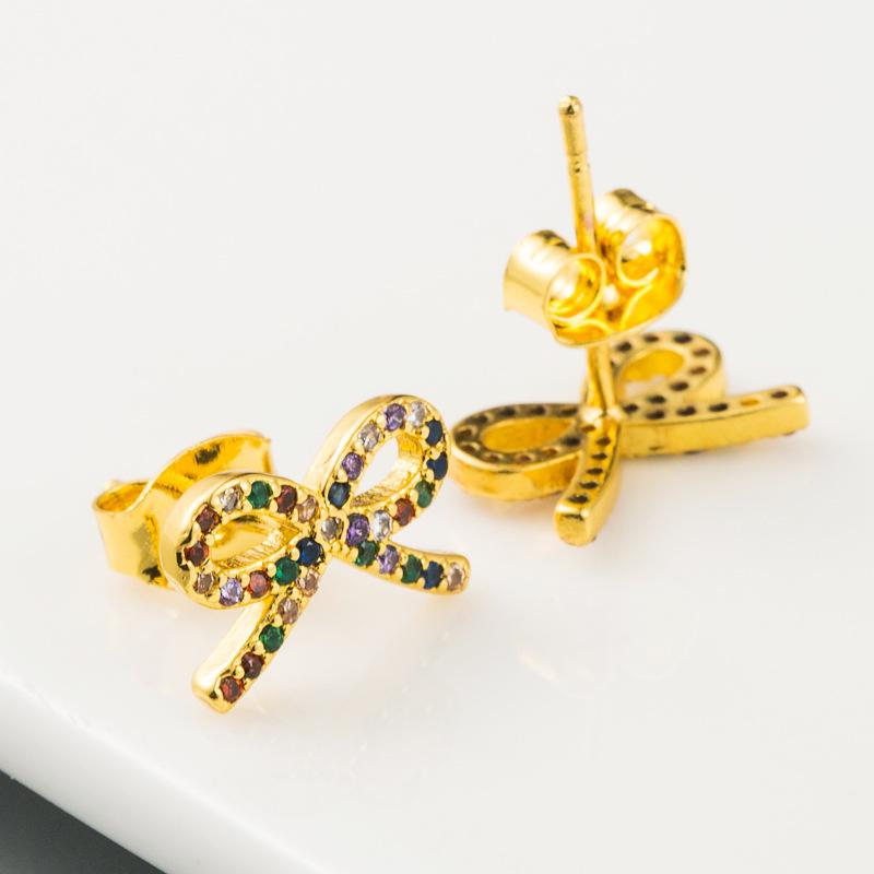 Bowknot earrings ladies Korean sweet and cute wild earrings brass microset color zircon plated real gold earrings wholesale  NHLN216486