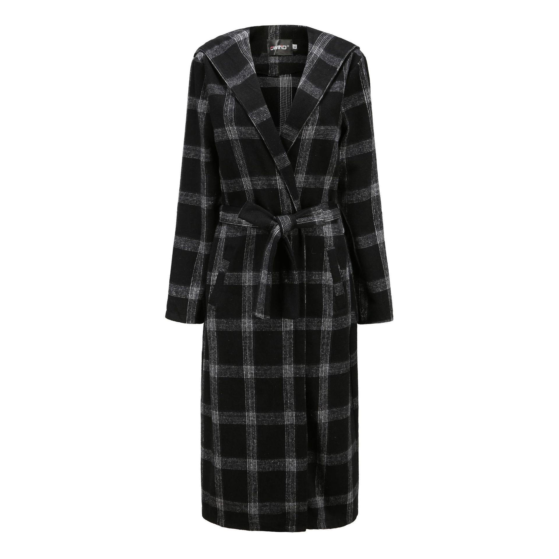 2020秋冬新款翻领时尚格子腰带女式呢子大衣毛呢外套女