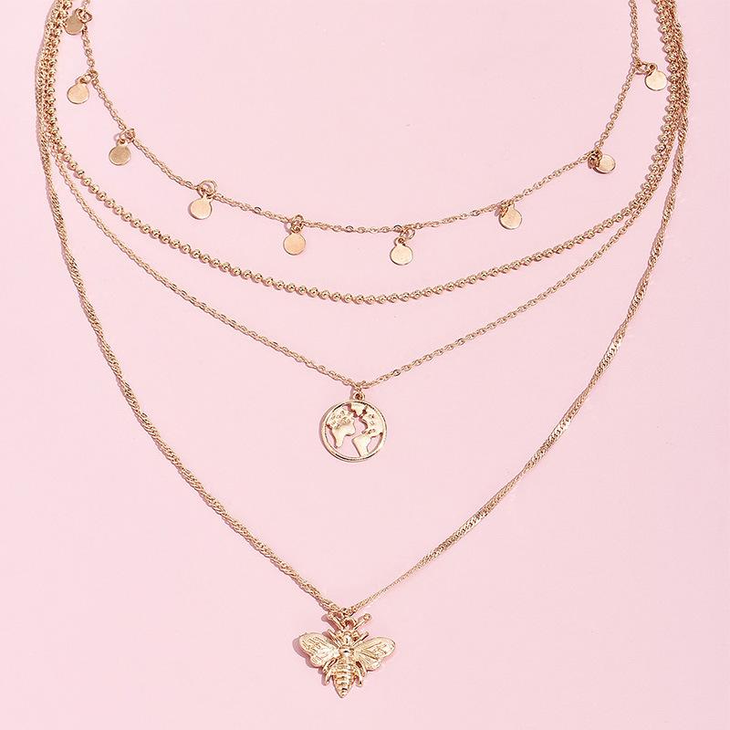 fashion simple disc bee world map pendant multi-layer women's alloy necklace  NHAJ248756
