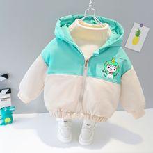 婴儿外套秋冬2男童冬装加绒棉袄冬季衣服1岁宝宝棉衣加厚一件代发