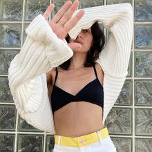 欧美独立站秋冬季新款时尚款性感个性少女超短长袖毛衣女款20425