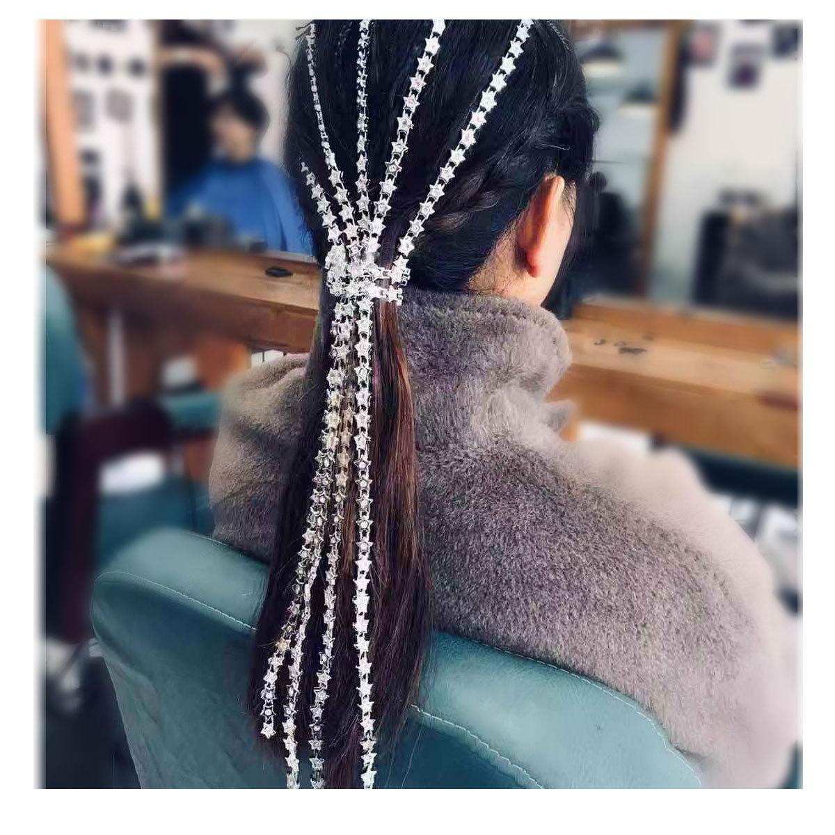 popular girl's headdress silver star tassel hair chain hair accessories wholesale nihaojewelry NHCT221220