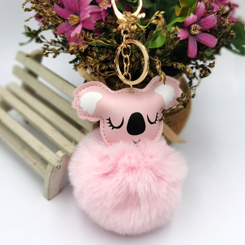 PU leather koala hair ball keychain imitation rex rabbit fur Christmas gift bag pendant car ornaments NHDI269444