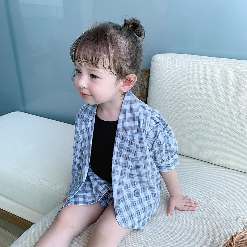 2020夏1 鱼子酱夏款0-5岁女童小童 格子西装套  短袖外套+裙裤