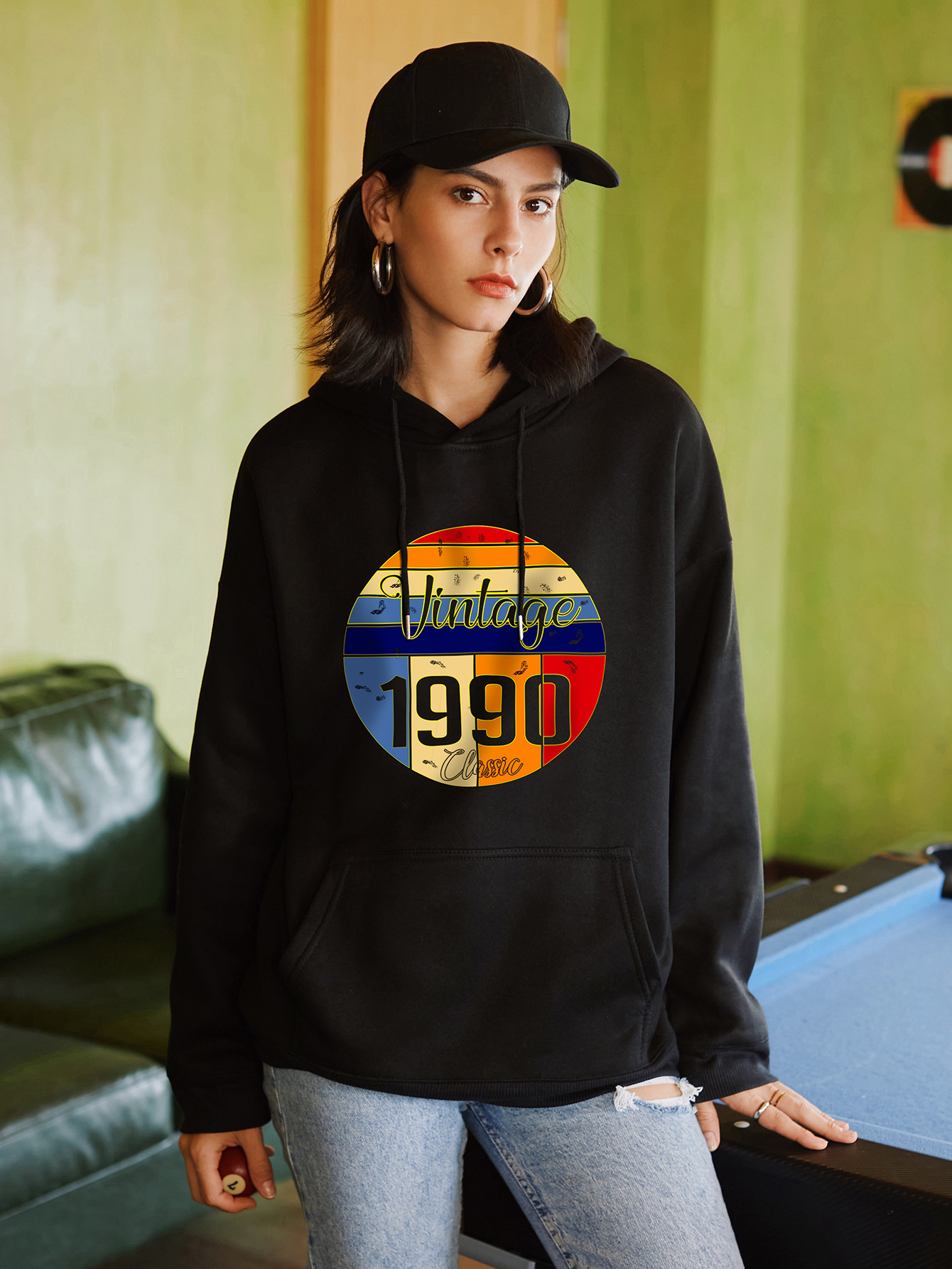 women's retro casual hooded hoodies for women NSSN1733