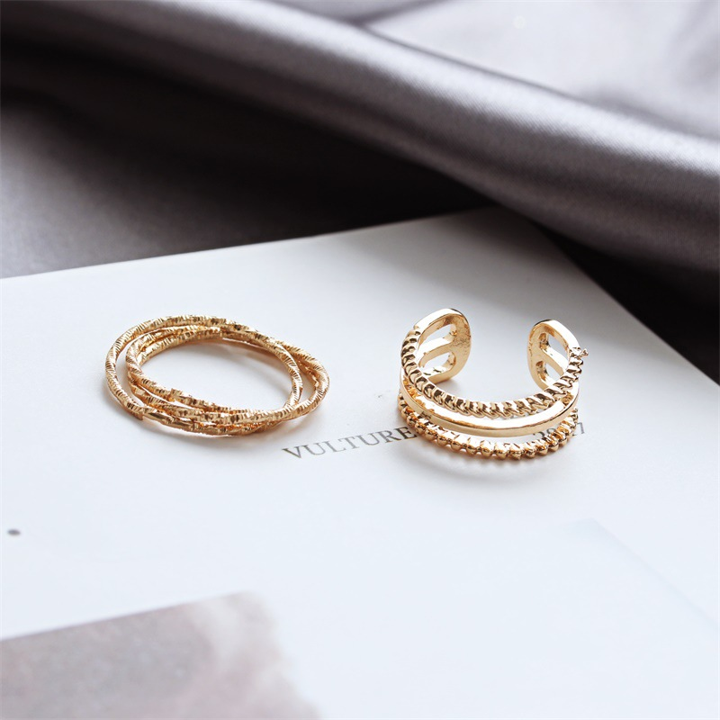 Korean frosted two-piece ring multi-layer hollow ring wholesale NHDP202838