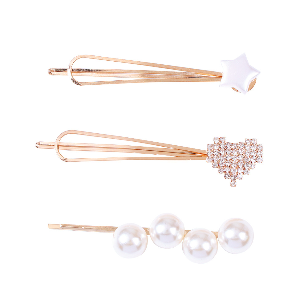 Korean new fashion candy-colored pearl three-piece hair accessories love diamond-set cheap hairpin wholesale NHMD209189