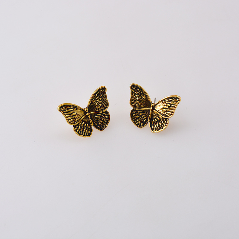 New fashion bronze retro design sense flower butterfly dark earrings wholesale NHNT210970