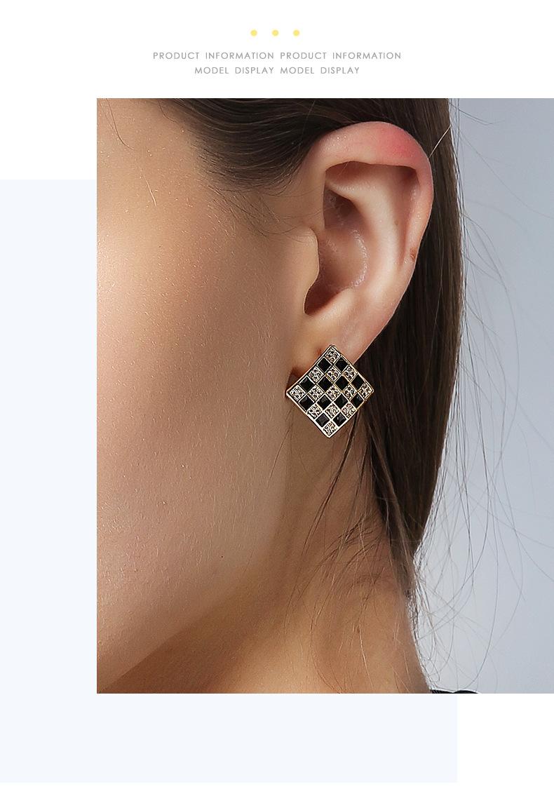 925 silver pin black and white checkered temperament elegant new wild fashion earrings NHPP198640